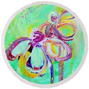 Abstract Flowers No 10 Round Beach Towel