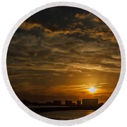 Round Beach Towel featuring the photograph Florida Sunset by Jane Luxton