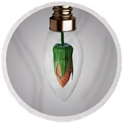 Flower In Bulb Round Beach Towel