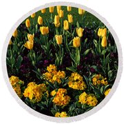 Flowers In Hyde Park, City Round Beach Towel by Panoramic Images