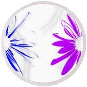 Flowers On White Round Beach Towel