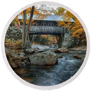 Flume Gorge Covered Bridge Round Beach Towel
