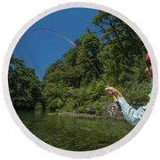 Fly Fishing Patagonia, Argentina Round Beach Towel