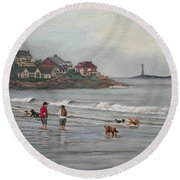 Fog Rolling In On Good Harbor Beach Round Beach Towel by Eileen Patten Oliver