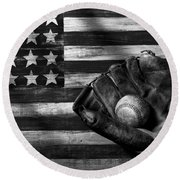 Folk Art American Flag And Baseball Mitt Black And White Round Beach Towel by Garry Gay