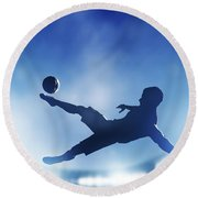 Football Soccer Match A Player Shooting On Goal Round Beach Towel