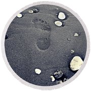 Round Beach Towel featuring the photograph Footprint by Nina Ficur Feenan