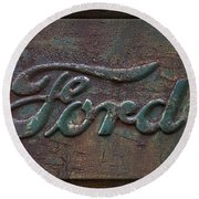 Detail Old Rusty Ford Pickup Truck Emblem Round Beach Towel