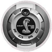 Ford Shelby Gt 500 Cobra Emblem Round Beach Towel by Jill Reger