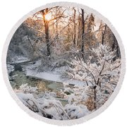 Forest Creek After Winter Storm Round Beach Towel