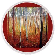 Round Beach Towel featuring the painting Forest Of Beech Trees by Gustav Klimt