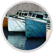 Four Boats In Blue Round Beach Towel