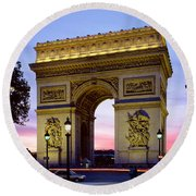 France, Paris, Arc De Triomphe, Night Round Beach Towel