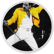 Freddie Mercury Live In Wembley1986    Round Beach Towel