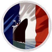 French Line Vintage Travel Poster Round Beach Towel