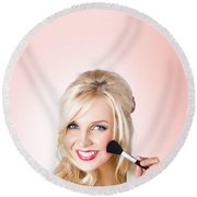 Fresh Faced Makeup Girl With Cosmetic Brush Round Beach Towel