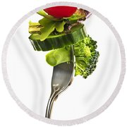 Fresh Vegetables On A Fork Round Beach Towel