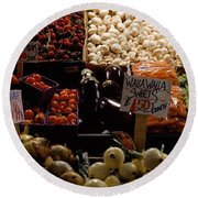 Fruits And Vegetables At A Market Round Beach Towel