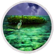 Round Beach Towel featuring the painting Full Moon Fishing by David  Van Hulst