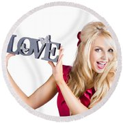 Fun Blonde Woman With Love Word Sign Round Beach Towel