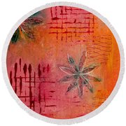 Round Beach Towel featuring the painting Fun Flowers In Pink And Orange 3 by Jocelyn Friis