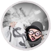 Funny Businessman With Falling Money. Success Round Beach Towel