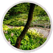 Garden Bench Round Beach Towel by Joe Mamer