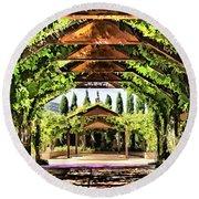 Round Beach Towel featuring the painting Garden by Muhie Kanawati