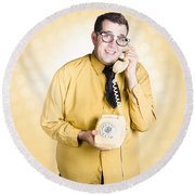 Geeky Businessman On Important Phone Call Round Beach Towel