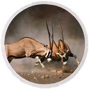 Gemsbok Fight Round Beach Towel