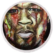 Round Beach Towel featuring the painting Get Rich Or Die Tryin' by Laur Iduc