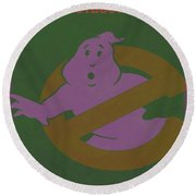 Round Beach Towel featuring the digital art Ghostbusters Movie Poster by Brian Reaves