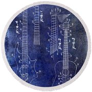 Gibson Guitar Patent Drawing Blue Round Beach Towel