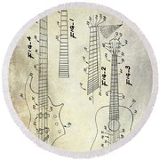 Gibson Guitar Patent Drawing Round Beach Towel