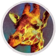 Giraffe Abstract Round Beach Towel