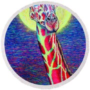 Round Beach Towel featuring the painting Giraffe by Viktor Lazarev