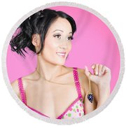 Girl Wearing Exquisite Jewelry On Pink Background  Round Beach Towel