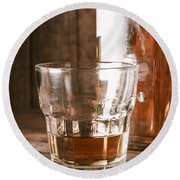 Glass Of Southern Scotch Whiskey On Wooden Table Round Beach Towel