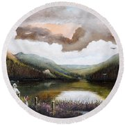 Round Beach Towel featuring the painting Glendalough by Ken Wood