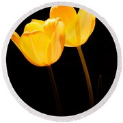 Glowing Tulips II Round Beach Towel