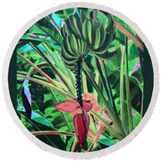 Round Beach Towel featuring the mixed media Going Bananas by Deborah Boyd