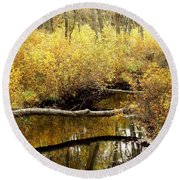 Golden Creek Round Beach Towel
