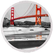 Golden Gate - San Francisco - California - Usa Round Beach Towel by Luciano Mortula