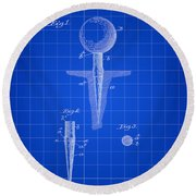 Golf Tee Patent 1899 - Blue Round Beach Towel by Stephen Younts
