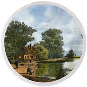 Round Beach Towel featuring the painting Gone Fishing by Ken Wood