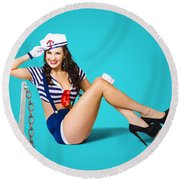 Gorgeous Pin Up Sailor Girl Wearing Hat Round Beach Towel