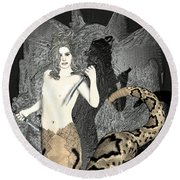 Gorgon Medusa  Round Beach Towel by Quim Abella