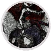 Gothic Girl And Skull Round Beach Towel by Akiko Okabe