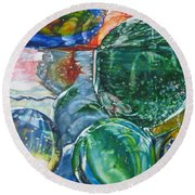 Grandpa's Marble Jar Round Beach Towel by Tracy Male