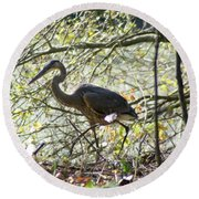 Round Beach Towel featuring the photograph Great Blue Heron In Bushes by Karen Silvestri